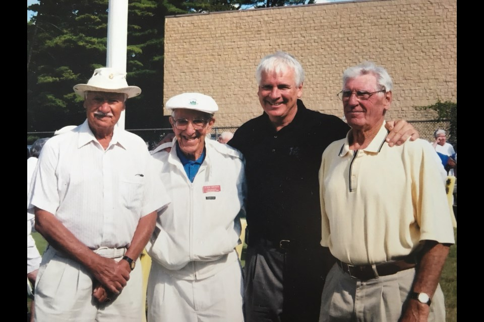 Collingwood veteran John Richards, Chic Simonato, former Collingwood Mayor Terry Geddes and Collingwood veteran William Allen. Contributed photo