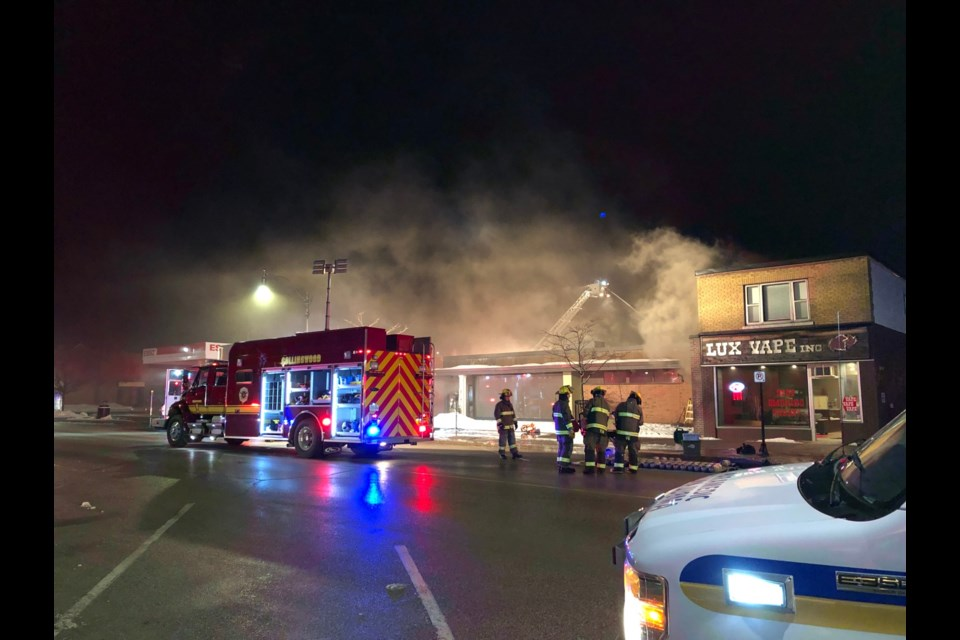 CollingwoodToday is on the scene at a fire currently burning in the Sporting Life Building on Hurontario Street. Erika Engel/CollingwoodToday