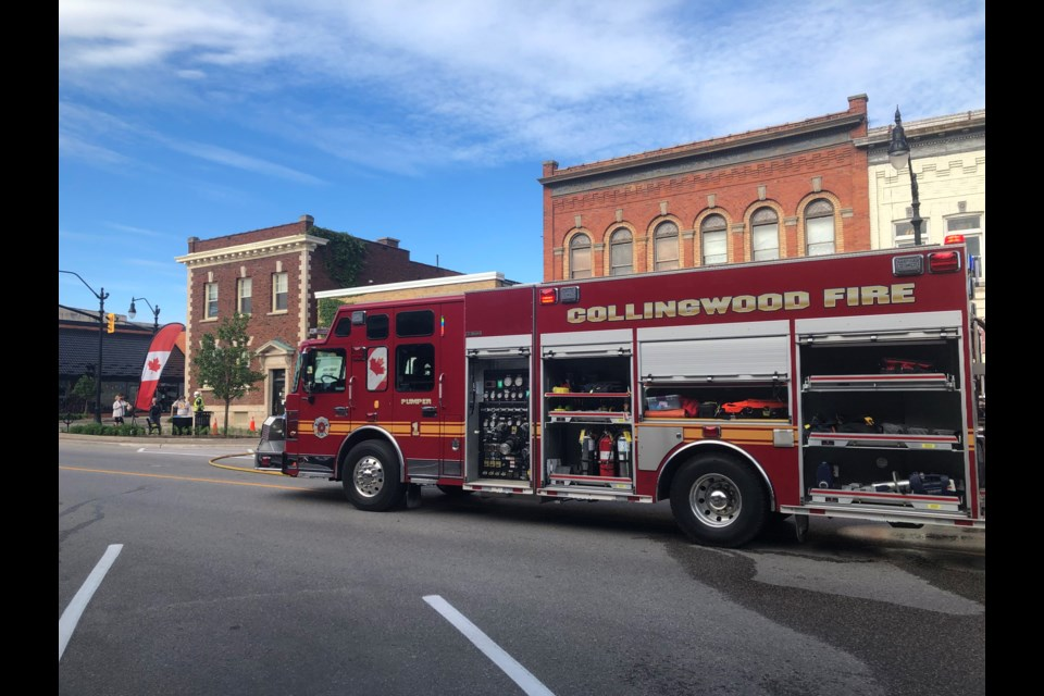 Firefighters were on the scene this morning by 3:30 a.m. at a fire at the Red Hen restaurant and remained there past 9 a.m. Erika Engel/CollingwoodToday