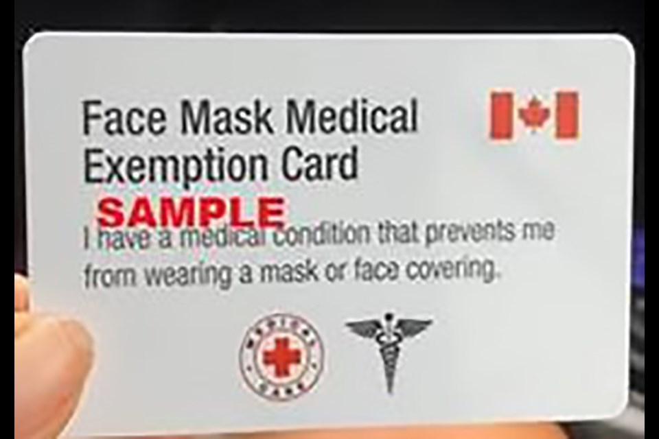 Global News reported this month that fake face mask exemption cards (like the one pictured above that was sold to a person in Collingwood) are being sold online. Officials warn not to fall for the scam. (Image: Supplied)