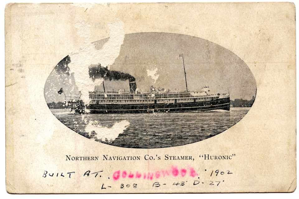 This postcard, bearing the image of the Collingwood-built Huronic, was sent to Sault Ste. Marie from Collingwood. Contributed photo. Collingwood Museum Collection X974.600.1