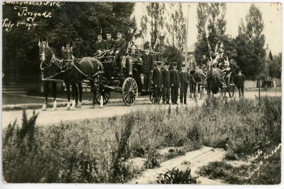 The Collingwood Fire Brigade on July 1, 1914 with their horse-drawn fire engines. Photo contributed by Collingwood Museum.