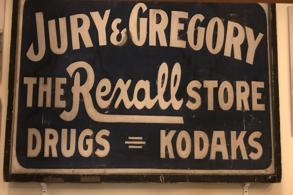 This Jury & Gregory sign is one of many local artifacts at the Collingwood Museum. Contributed photo