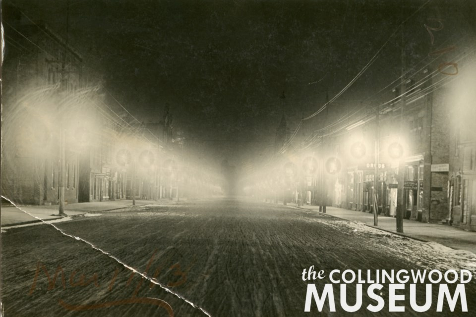 This photo taken in 1913 shows Collingwood's early electric streetlights. Photo from Huron Institute 210; Collingwood Museum Collection X970.654.1