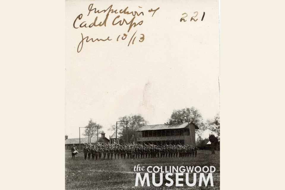 This multi-level grandstand was used by residents hoping to get a good view of horse races and ... perhaps ... famed sharpshooter Annie Oakley. Photo contributed by Collingwood Museum Huron Institute 221, 4; Collingwood Museum Collection X2014.63.1,