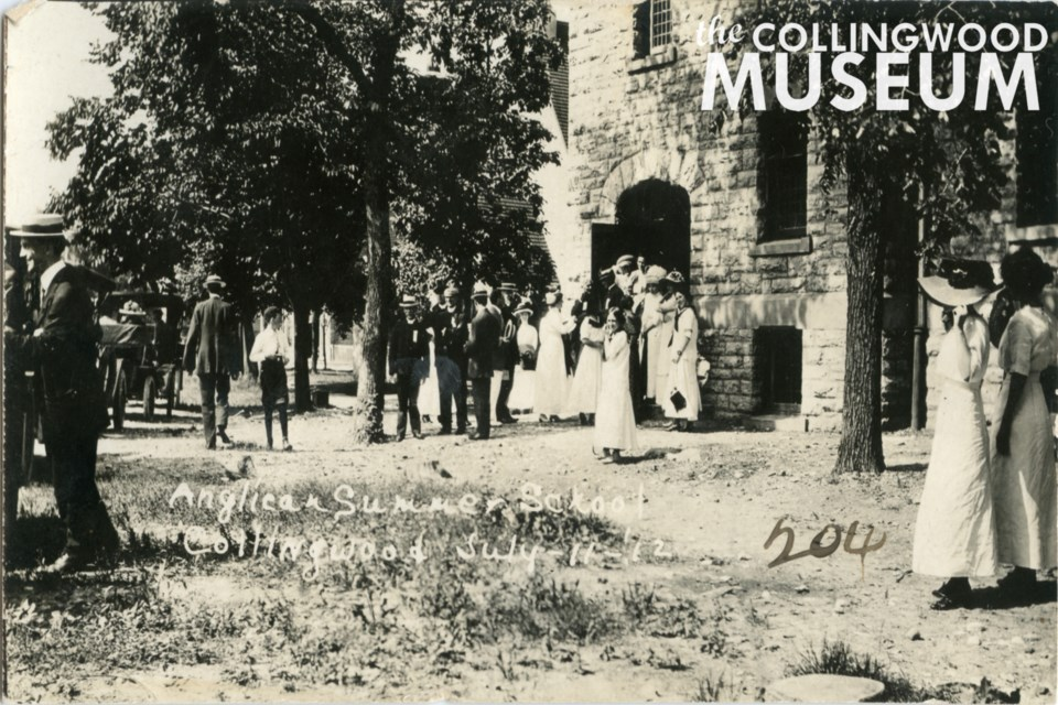 The All Saints' Anglican Summer School on July 11, 1912 at the stone structure that stands today as the same church. Photo from Huron Institute 203, 204; Collingwood Museum Collection X970.363.1, X970.357.1
