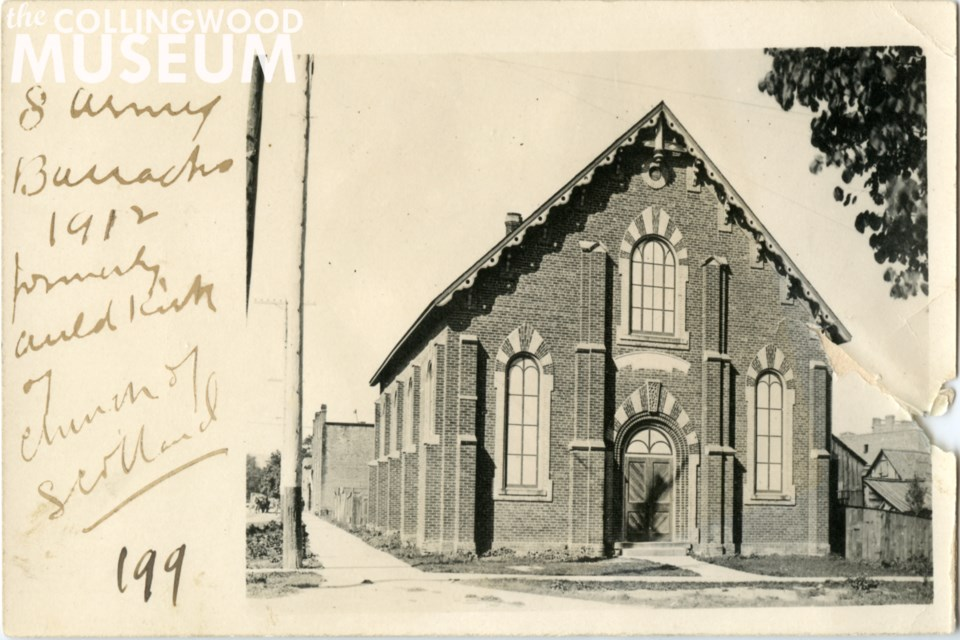This striking building once sat at the north-west corner of Ste. Marie and Ontario Streets, the present-day location of the Salvation Army Collingwood Community Church. Photo from Huron Institute 199; Collingwood Museum Collection X970.378.1