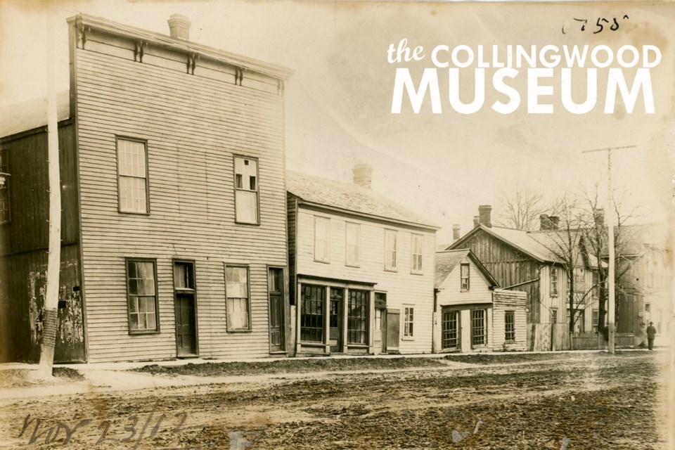 Pioneer buildings standing on First Street where Loblaw grocery store now stands. This photo from 1912 shows a few of Collingwood's halls and shops. Photo from Huron Institute 1755; Collingwood Museum Collection X971.557.1