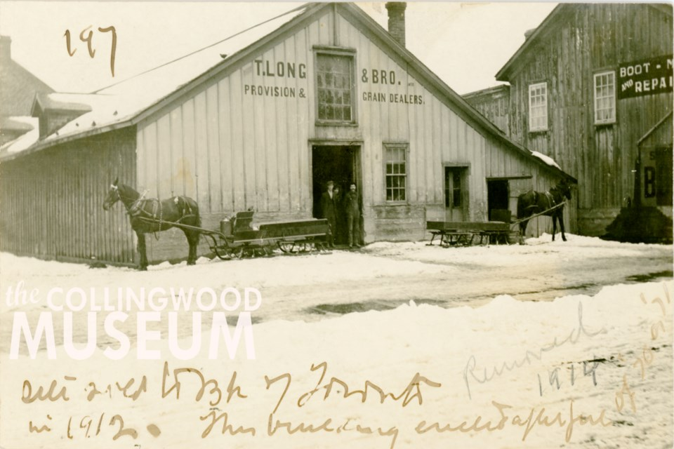 This wooden building once housed T. Long and Bro. Provision and Grain Dealers until the building was taken down in 1914. Photo contributed by Collingwood Museum Huron Institute 197; Collingwood Museum Collection X972.12.1, 2015.20.4, X970.326.1