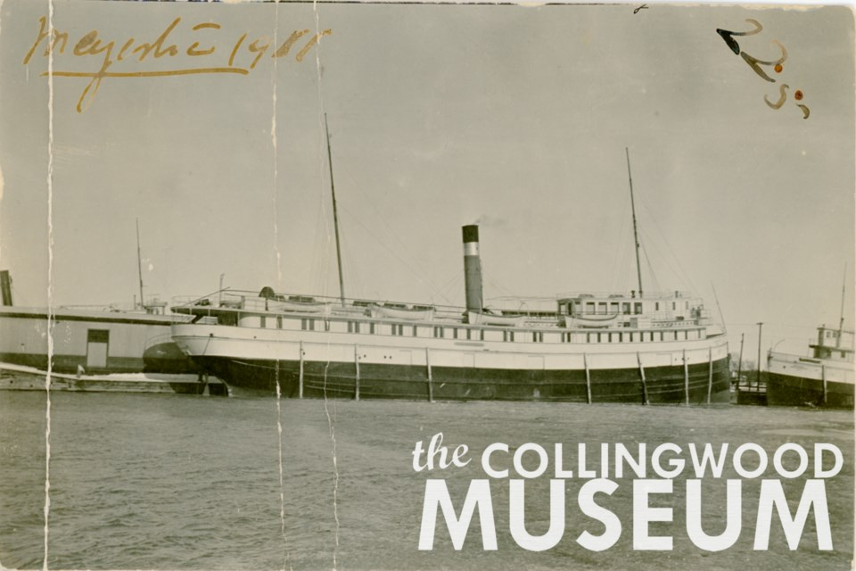 The Majestic docked in Collingwood harbour in 1911.  Photo from Huron Institute 225, 1690; Collingwood Museum Collection X974.650.1, X975.145.1. 002.18.1.