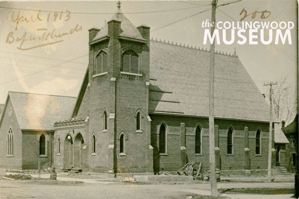 This photo of Collingwood's First Baptist Church was taken in 1913, shortly after the addition of the vestibule and square tower at the building's south-east corner.