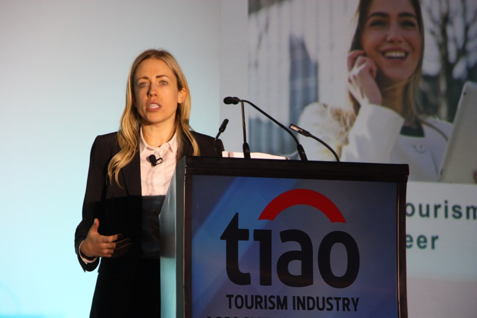 Alexandra Rodgers, director of research and policy for the Tourism Industry Association of Ontario speaks at the 2019 Ontario Tourism Summit at Blue Mountain today (Oct. 30). Erika Engel/CollingwoodToday