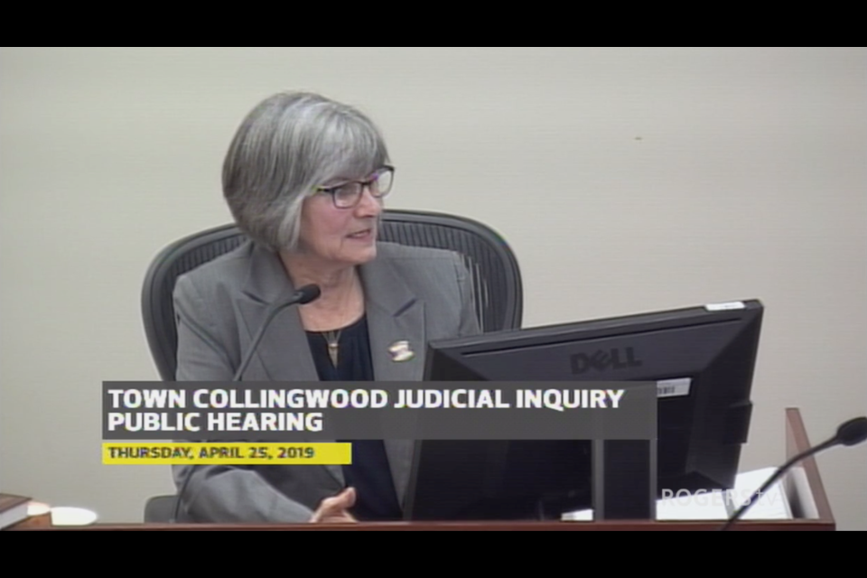 Former mayor Sandra Cooper takes questions during cross examination on April 25.