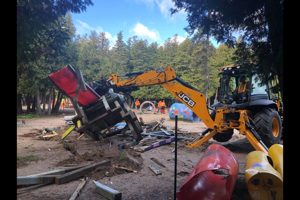 Town crews began demolition at 8 a.m. on Oct. 13, 2021.