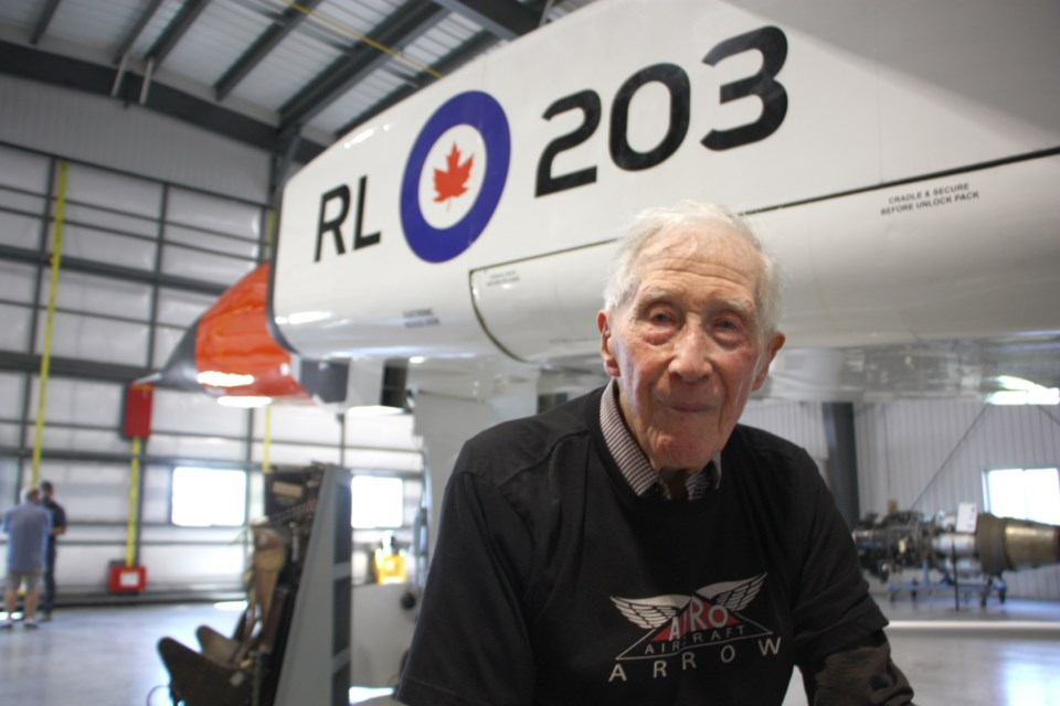 Gerald McCulloch used to work around the real Avro Arrow in the 1950s, and was invited to visit the replica at the Edenvale Airport. He's 104 years old.