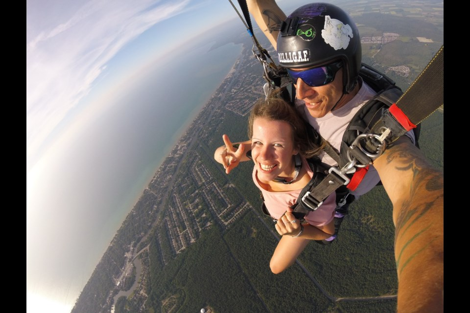 Selfie in the sky - definitely part of the skydiving experience. Contributed photo