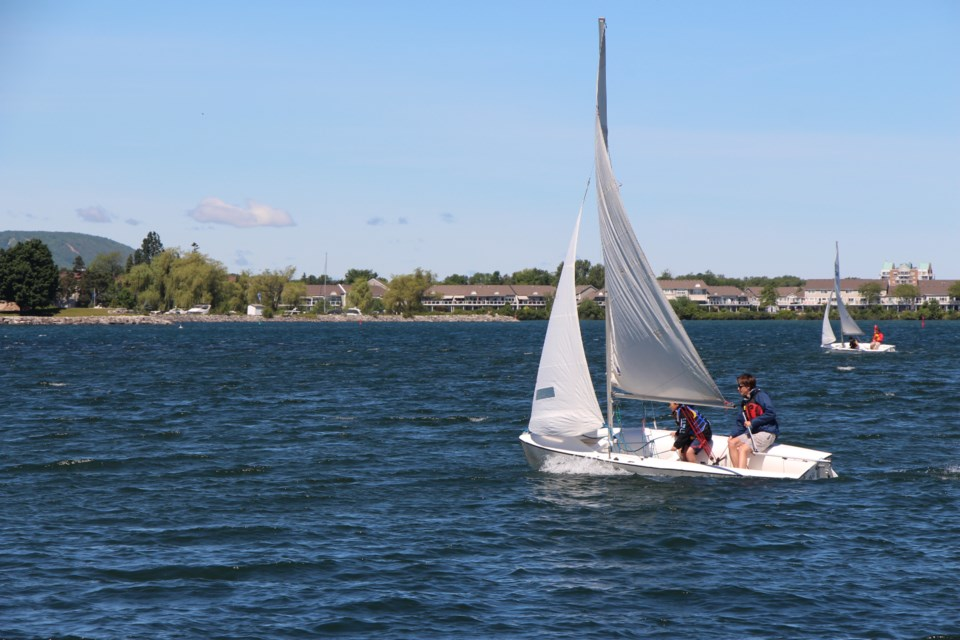 Collingwood Sailing School uses Club 420 boats to take guests out on a learn-to-sail experience during the Canada Day weekend events in Collingwood. Maddie Johnson for CollingwoodToday