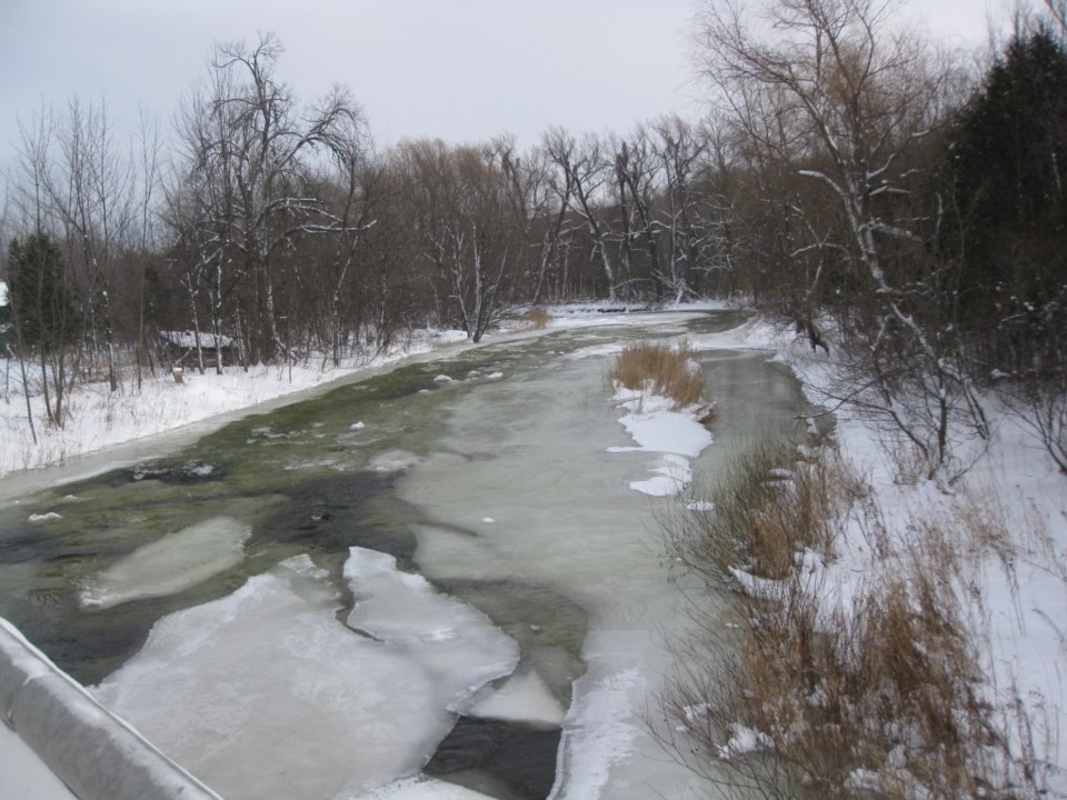 Icy river in the winter