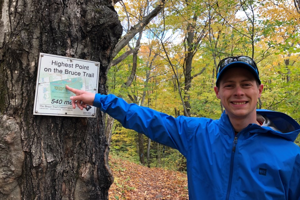 John Sandham expores offshoot trails around Osler and stumbles upon the highest point of the Bruce Trail. Maddie Johnson for CollingwoodToday