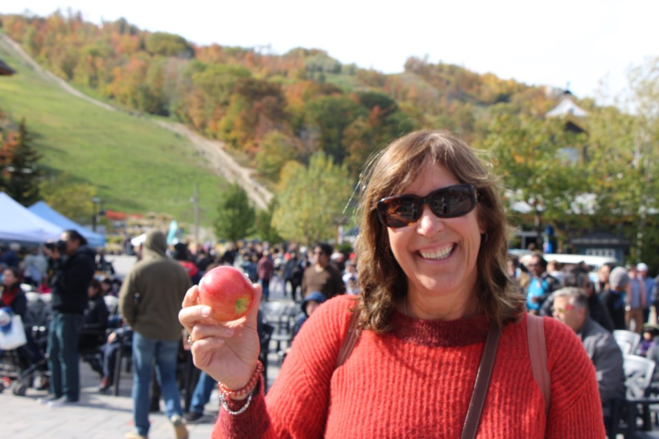 Joanne Pavanel is all smiles for apple season. Maddie Johnson for CollingwoodToday