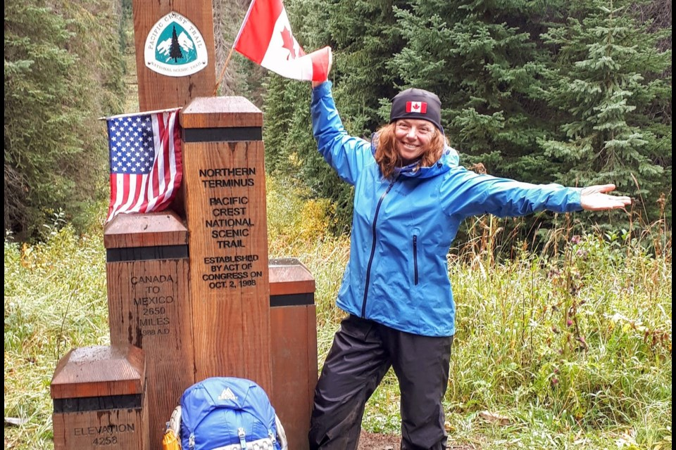 Linda Murphy reached the end of the PCT minutes behind her friend, Best Western, on Sept. 14. Contributed photo