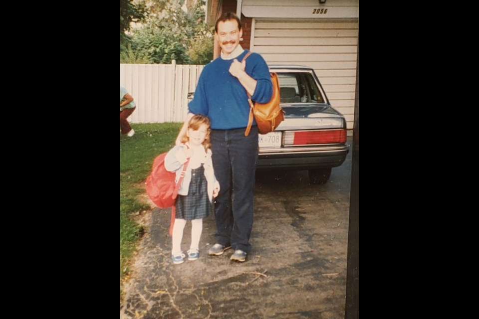 The author, left, and her father Seth in 1987, both leaving for their first day of school. It was the author's first day of kindergarten, and her father's first day off to Wilfrid Laurier for his masters degree in social work.