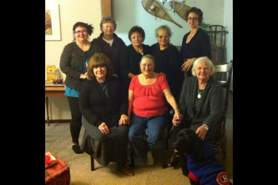The Wendat/Wandat Women's Advisory Council. (Back row - L to R) Beverlee Pettit,  Judith Manthe, Linda Sioui, Catherine Tàmmaro, Kathryn Labelle. Front row left to right Sallie Cotter Andrews, Judith Kukowski, Chief Janith English.  Not pictured: Manon Sioui