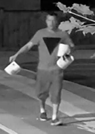 Photo from Crime Stoppers shows the suspect appearing to dump paint on a new rainbow crosswalk in Wasaga Beach.