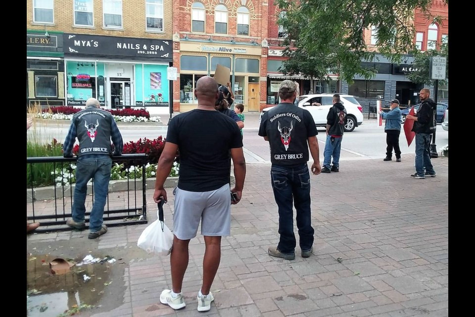 Members of Soldiers of Odin Grey Bruce were in attendance at a demonstration in Collingwood on Labour Day. The demonstration was put on by MAPP (Mankind Against Pedophiles and Predators), and were advocating for the Ontario Sex Offender Registry to be make public. Contributed image