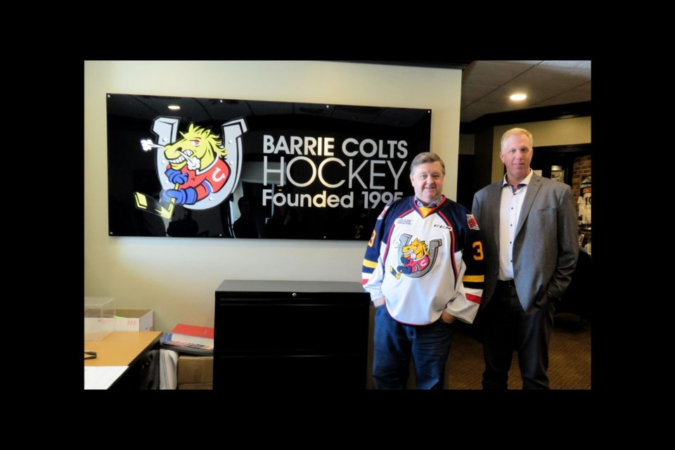 Howie Campbell, owner of the Barrie Colts, and Stayner Siskins GM David Steele are working together to bring a Junior A team to Collingwood. Contributed photo