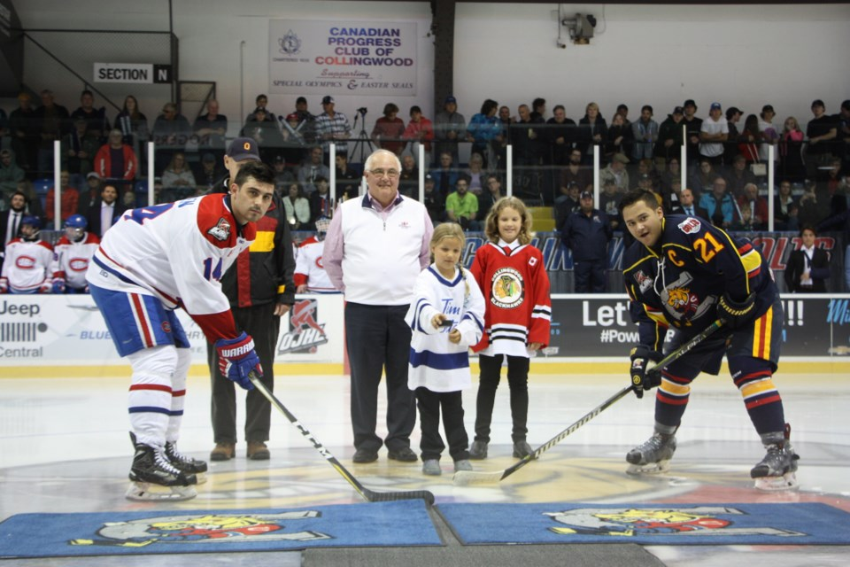 The ceremonial puck drop for the Collingwood Colts inaugural home opener game on Sept. 13, 2019. Erika Engel/CollingwoodToday
