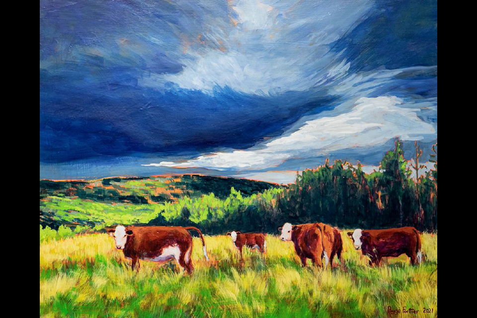Community Pastures, acrylic on board.