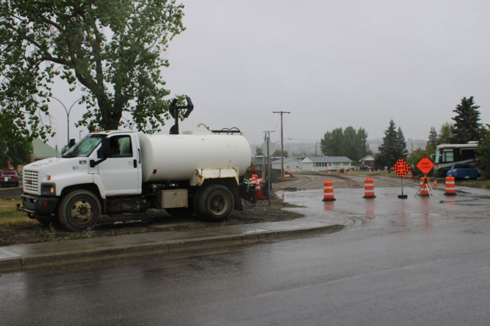 Detours continue by the Dawson Creek Hospital.