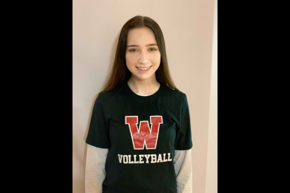Maddie Chabot shows off her GPRC Wolves gear ahead of next season.