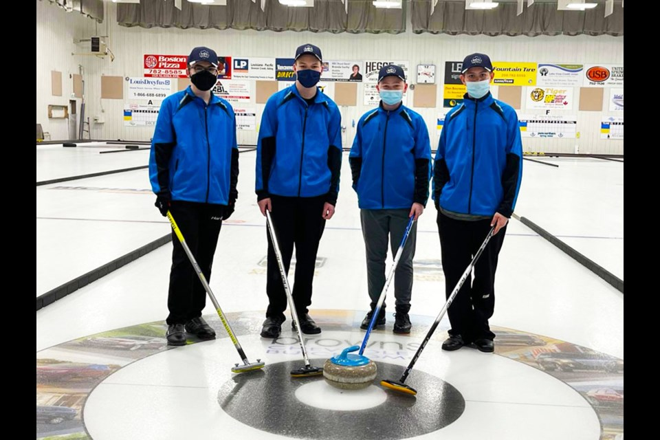 From left: Skip Casey Patterson, third Blake Willich, Quinn Farmer, and lead Kaden Mitchell made up the Dawson Creek Curling Club's first U18 competitive team in nine years, despite not being able to play any games. The players enjoyed the season and the amount of coaching they received.