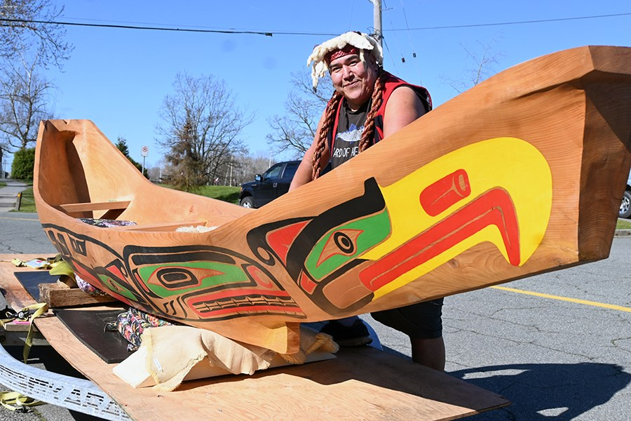 First Nation carver and Ladner resident Sean Frank has completed his spectacular 18-foot dugout cedar canoe that is now headed to Comox.
