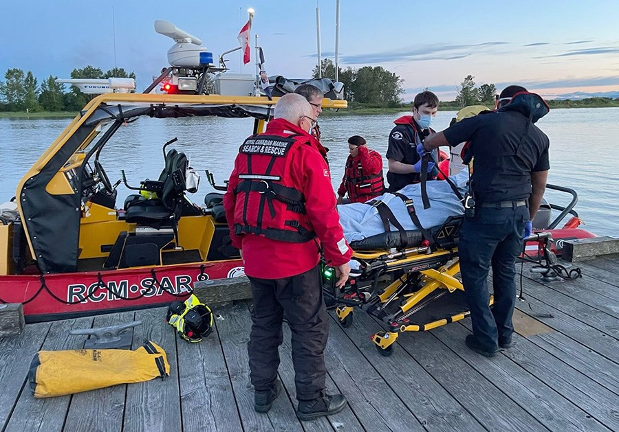 RCMSAR Station 8 Delta rescued the boater from the Fraser River and brought him to Steveston Harbour where he was transferred to hospital.