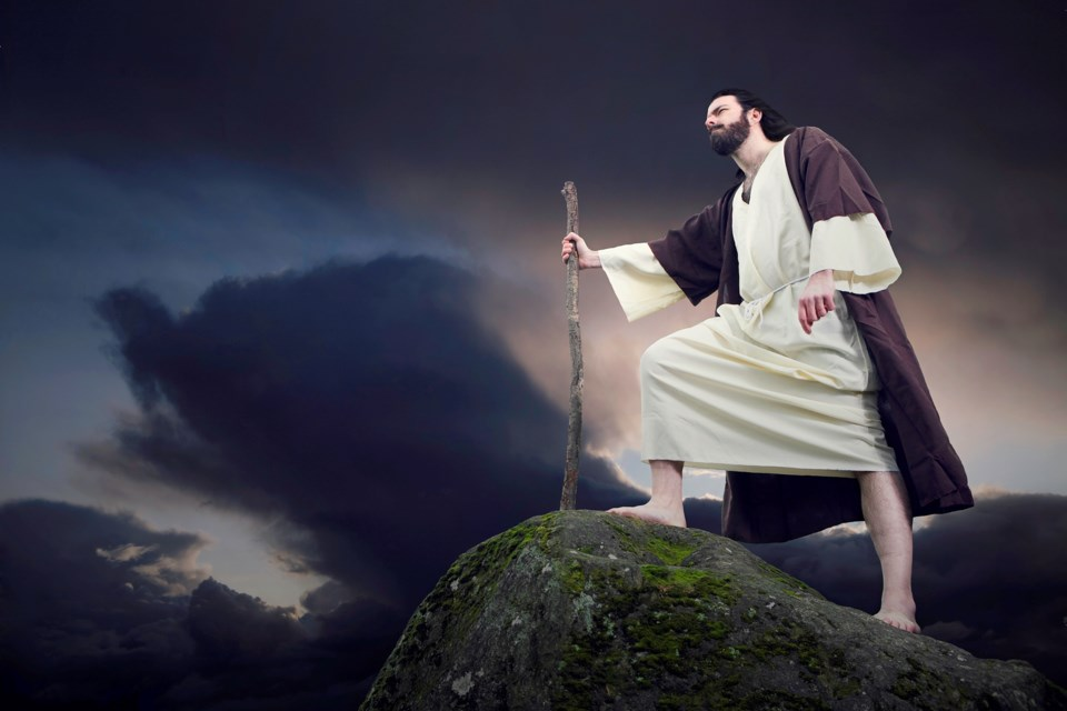 Bible character on mountain top