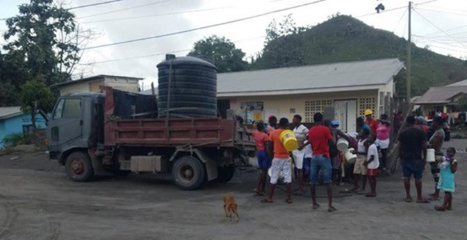 Paula Toby's husband has helped deliver water to villages impacted by the eruption of La Soufriere volcano on St. Vincent.