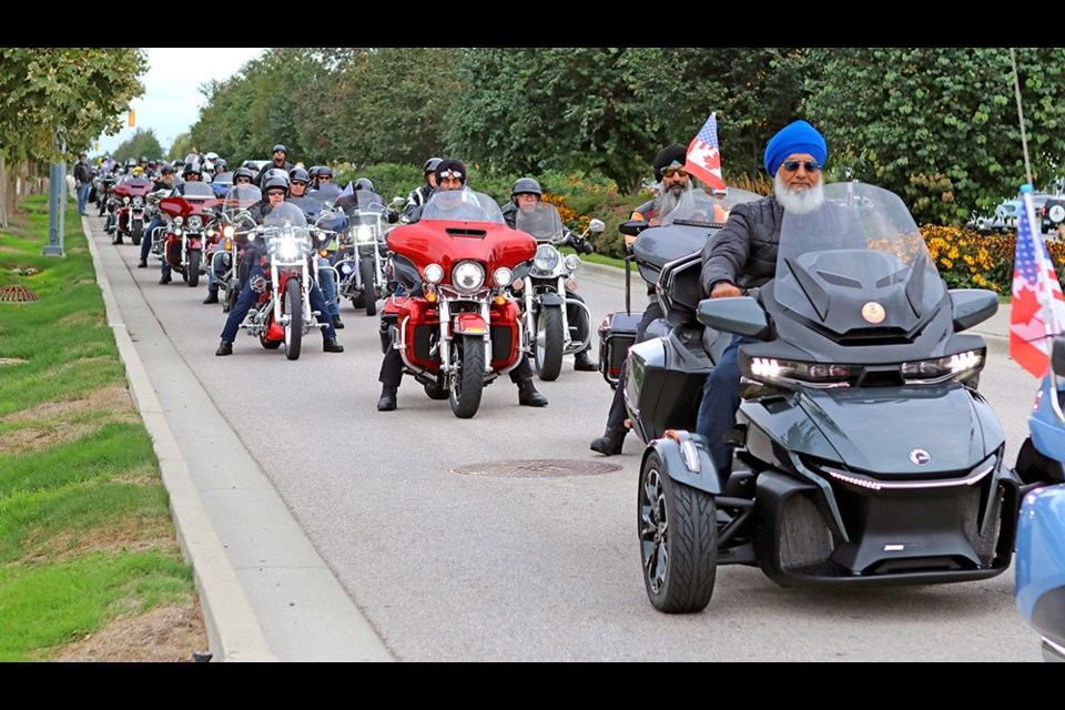 The 9/11 Memorial Ride procession leaves Tsawwassen Mills Saturday following a special ceremony to commemorate the 20th edition.