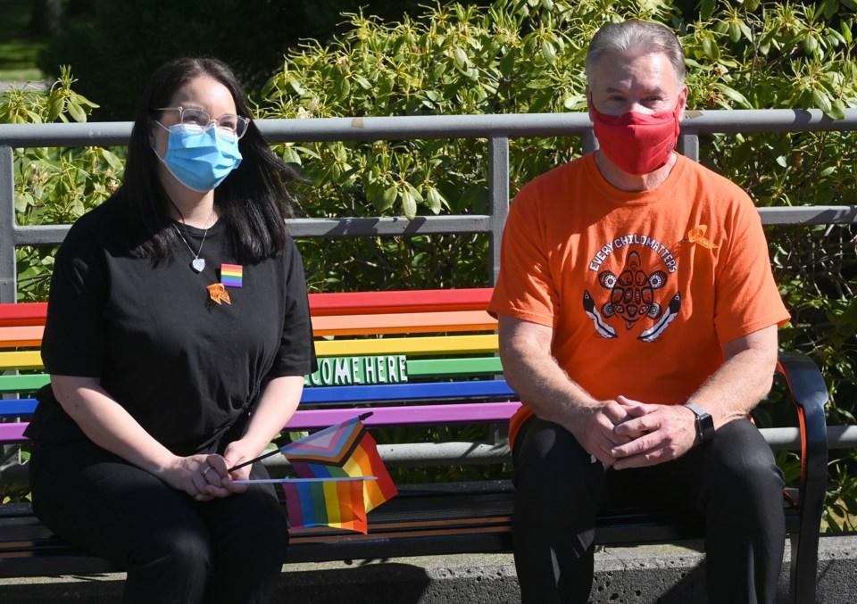 Pride bench at City Hall