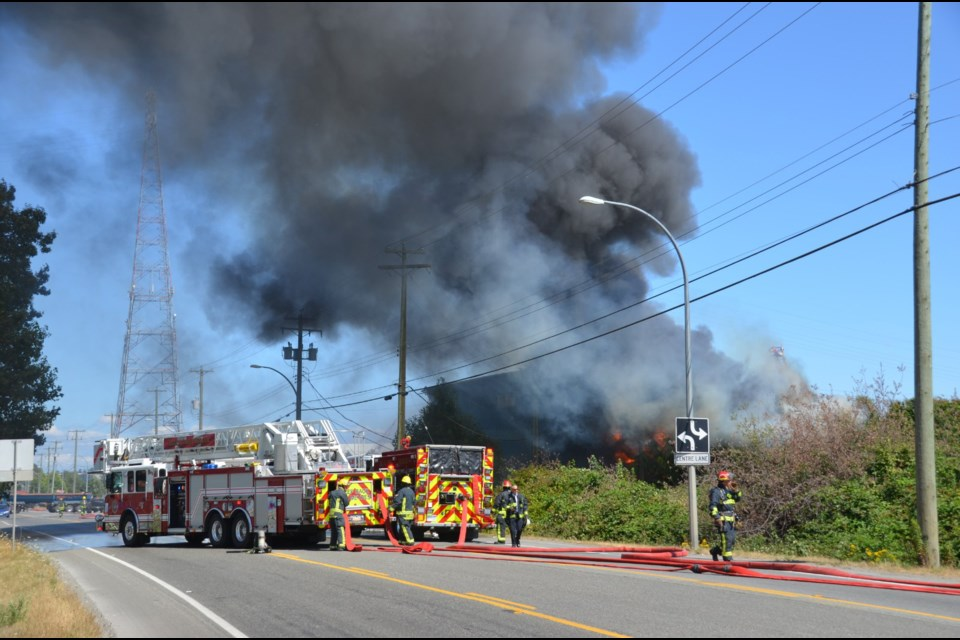 Delta Firefighters are battling a structure fire on River Road.
