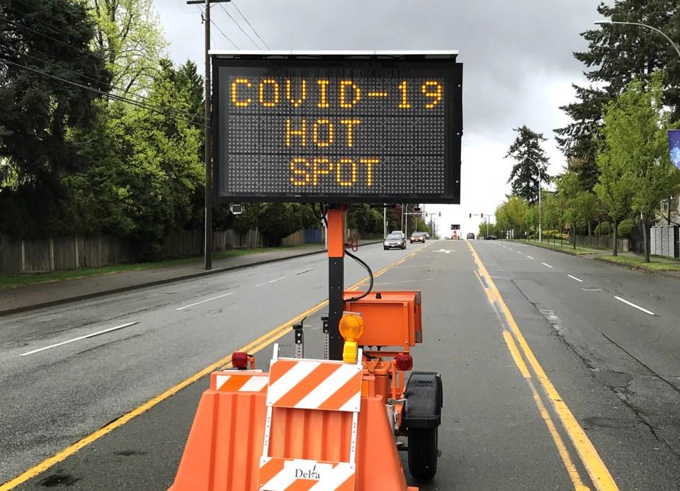 delta bc, covid-19 city message board on scott road