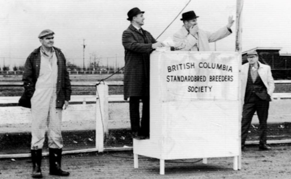 'doc davis' (far left) at paterson park in the 1960s. Ian Paton Sr. conducts auction