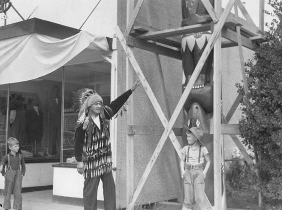 Chief Wilkes gives Delta a totem pole in the 1930s