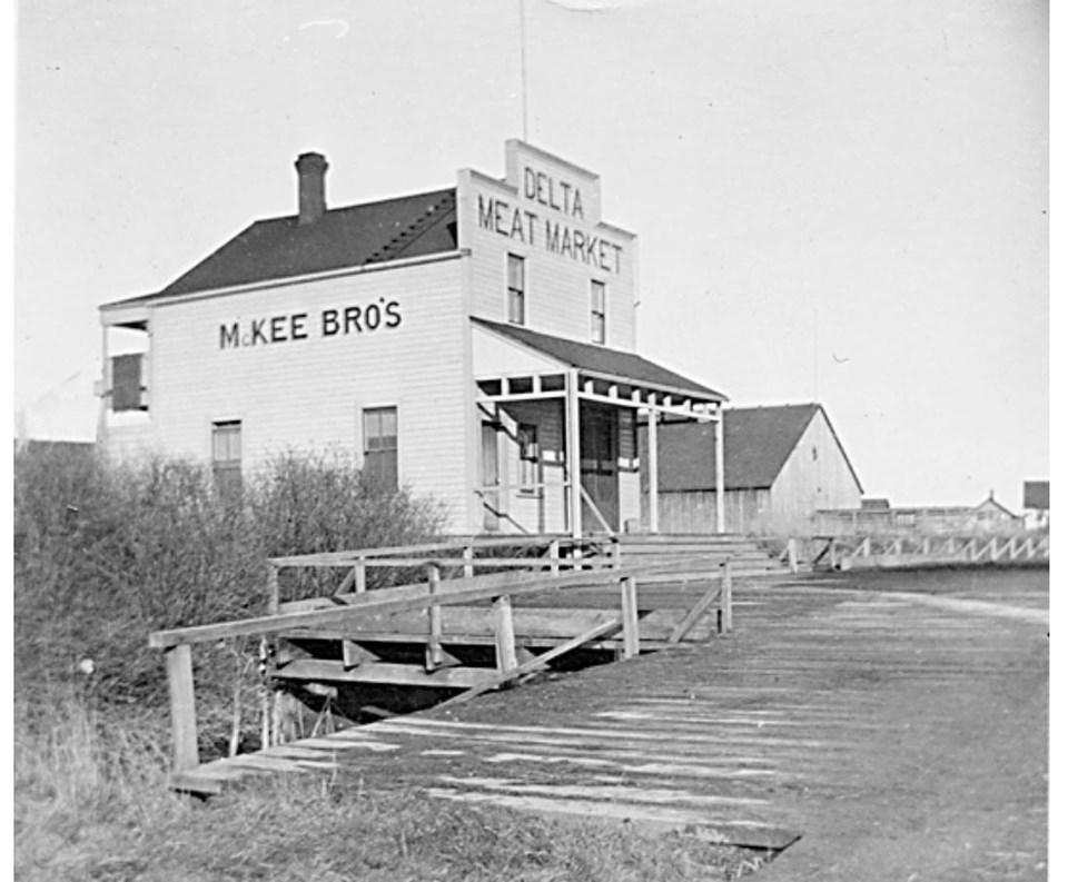 mckee brothers meat market in ladner village, 1890