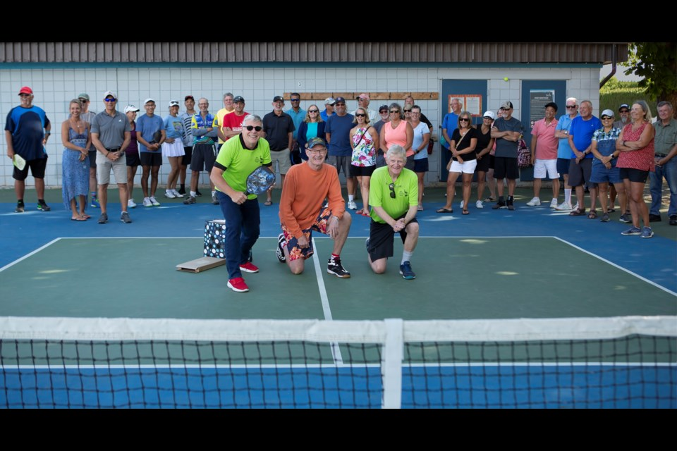 Members of the Delta Pickleball Association hosted an event on July 22 at Ladner's Memorial Park to celebrate Ken Kuntz's retirement as Delta's director of parks, recreation and culture and his efforts in helping them build their sport.
