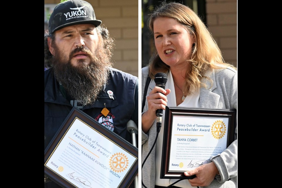 Tsawwassen First Nation members Nathan Wilson and Tanya Corbet are co-winners of the Tsawwassen Rotary Club's Community Peace Builder Award.