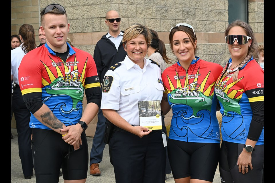 Delta Police constables and Tour de Valley members Grayson Hawkins, Bianca Boyce and Terra Schmuland present Delta Deputy Chief Michelle Davey an appreciation plaque during Monday's Cops for Cancer luncheon send-off.