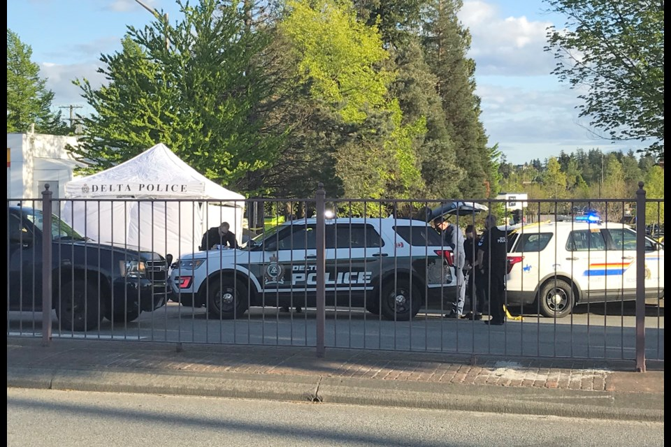 Delta police received reports of shots fired at 4:55 p.m. near the Shell gas station at 72nd Ave. and 120th St.